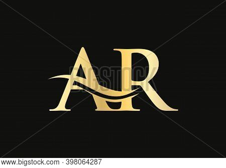 Initial Ar Logo Design. Creative And Minimalist Letter Ar Logo Design With Water Wave Concept.