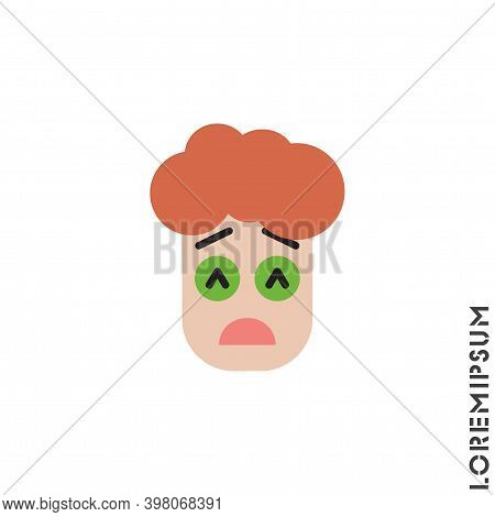 Sad Give Up Tired Emoticon Boy, Man Icon Vector Illustration. Color Style. Very Sad Cry Stressful Em