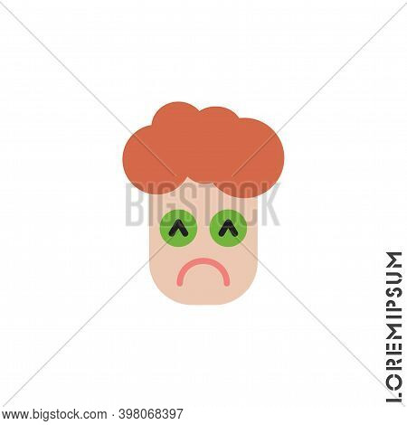 Depressed, Sad, Stressed Emoji Boy, Man Icon Vector, Emotion, Sad Symbol. Modern Flat Symbol Web And