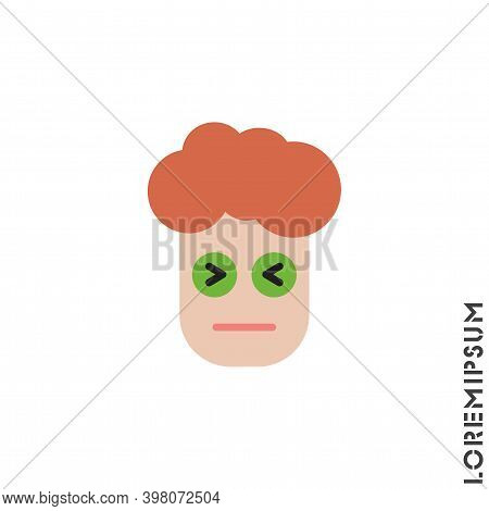 Angry Face Emoji Boy, Man Icon Vector. Sad Face Emoticon Symbol. Color Style Sign For Mobile Concept