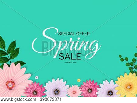 Promotion Offer, Card For Spring Sale Season With Spring Plants, Leaves And Flowers Decoration. Vect