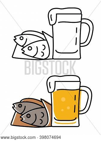 Pint Of Beer And Cured Fish. Vector Alcohol Icons In Flat Style