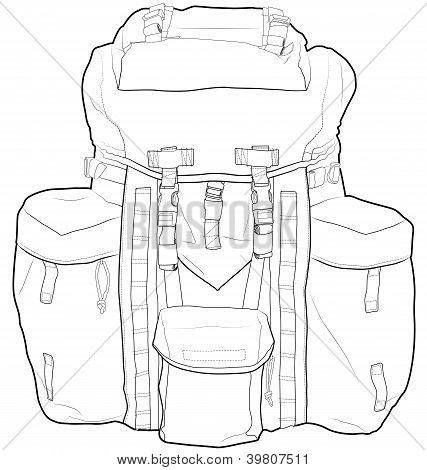 Military backpack vector outline. Fully editable.
