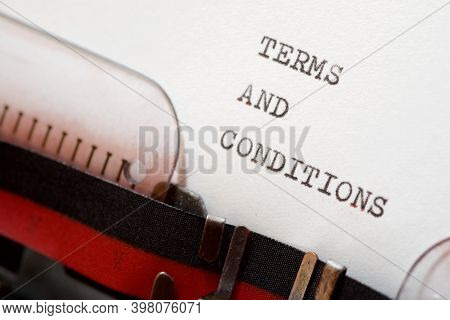 Terms and conditions phrase written with a typewriter.