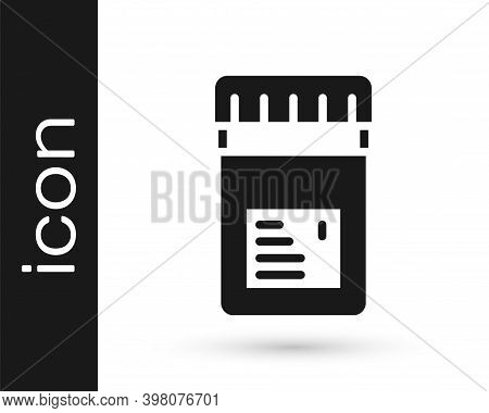 Black Biologically Active Additives Icon Isolated On White Background. Vector