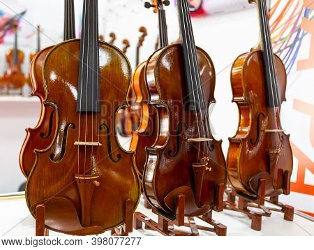 Classical Violins Standing On A Wooden Base. Stringed Musical Instruments Of A Symphony Orchestra. C