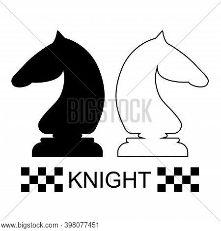 Black And White Knight Chess Piece On A White Background. Chess Pieces. Chess. Vector Illustration.