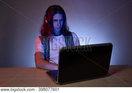 Geek Guy Is Learning New Technologies, Programming, And Computer Modeling. The Student Studies Progr
