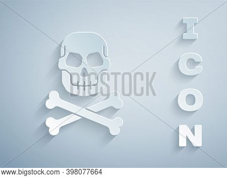 Paper Cut Skull On Crossbones Icon Isolated On Grey Background. Happy Halloween Party. Paper Art Sty