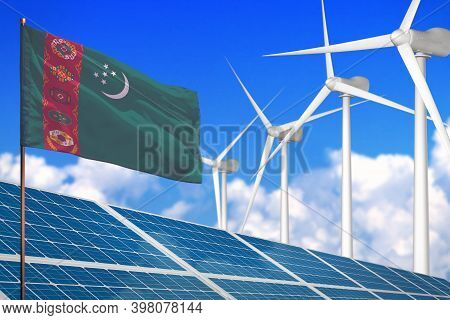 Turkmenistan Solar And Wind Energy, Renewable Energy Concept With Windmills - Renewable Energy Again