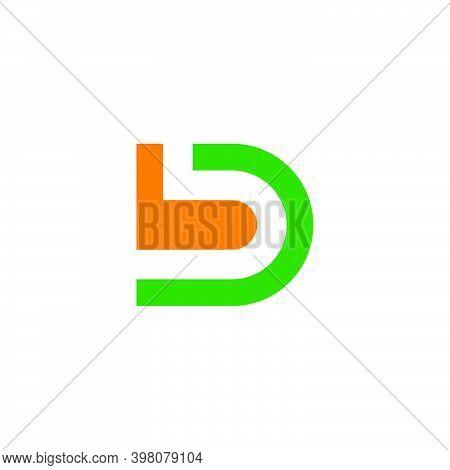 Letter Bd Simple Geometric Clear Flat Design Logo Vector