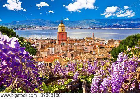 Saint Tropez Village Church Tower And Old Rooftops View, Famous Tourist Destination On Cote D Azur,