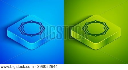 Isometric Line Dial Knob Level Technology Settings Icon Isolated On Blue And Green Background. Volum