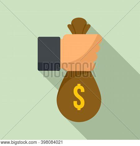 Bribery Money Bag Icon. Flat Illustration Of Bribery Money Bag Vector Icon For Web Design