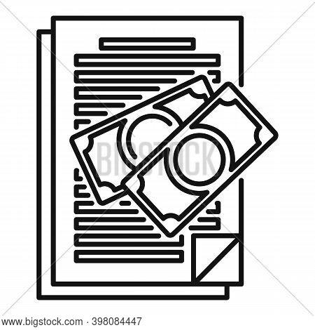 Document Bribery Money Icon. Outline Document Bribery Money Vector Icon For Web Design Isolated On W