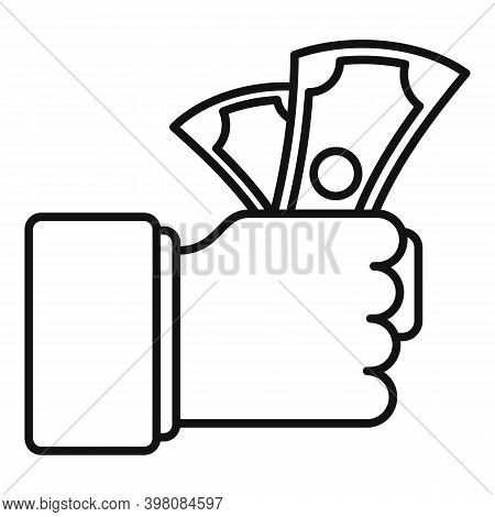 Hand Money Cash Bribery Icon. Outline Hand Money Cash Bribery Vector Icon For Web Design Isolated On