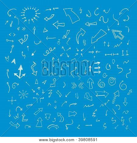 Vector hand drawn arrows set on blue background
