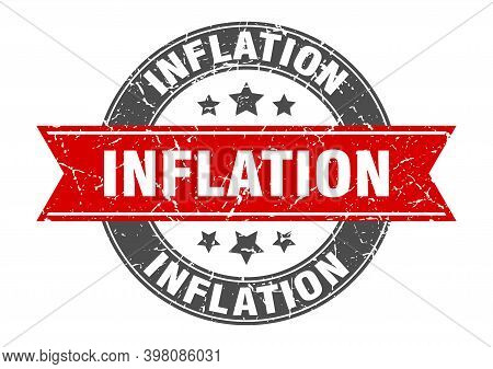 Inflation Round Stamp With Ribbon. Label Sign