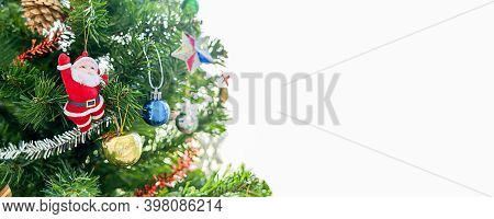 Decorated Christmas Tree With Copy Space For Your Text.