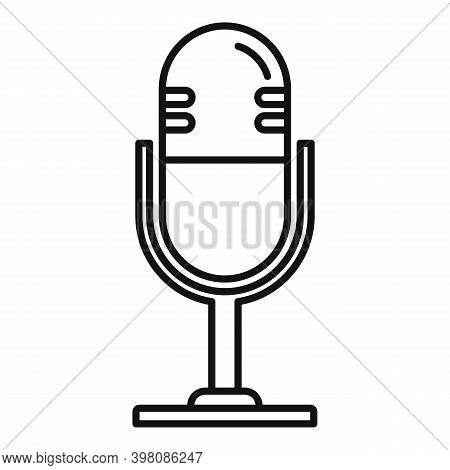 Linguist Microphone Icon. Outline Linguist Microphone Vector Icon For Web Design Isolated On White B