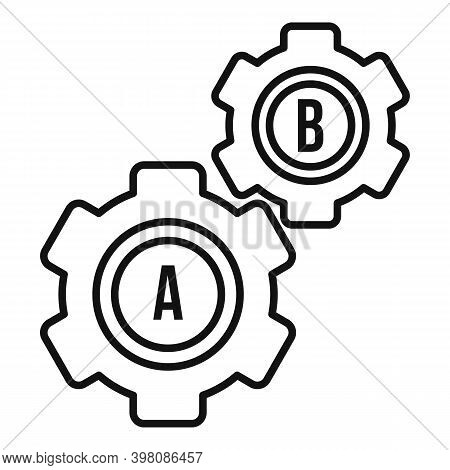 Gear Wheel Linguist Icon. Outline Gear Wheel Linguist Vector Icon For Web Design Isolated On White B