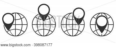 Planet Earth Icon With Location Symbol. Set Of Linear Globe Icons. Vector Illustration. Location Pin