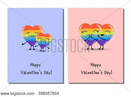 Trendy Rainbow Hearts, Great Design For Any Purposes. Holiday Greeting Card. Bright Decoration. Deco