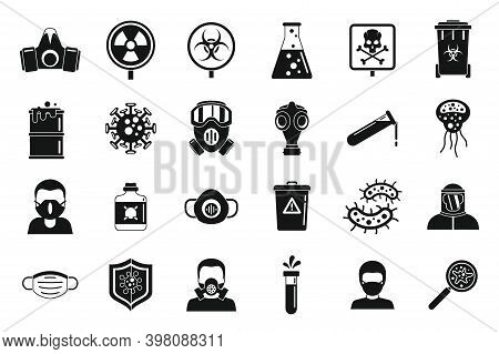 Biohazard Toxic Icons Set. Simple Set Of Biohazard Toxic Vector Icons For Web Design On White Backgr