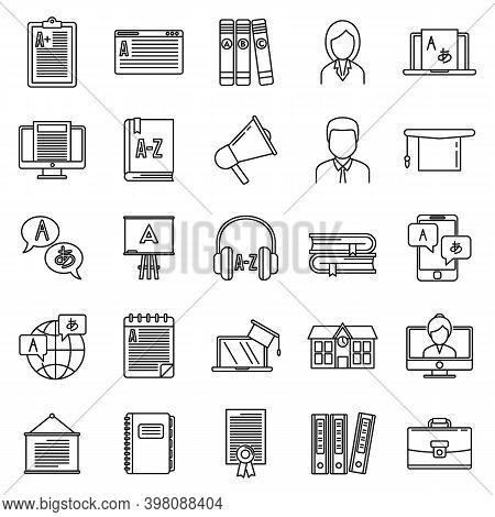 Modern Foreign Language Teacher Icons Set. Outline Set Of Modern Foreign Language Teacher Vector Ico