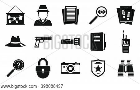 Crime Investigator Icons Set. Simple Set Of Crime Investigator Vector Icons For Web Design On White