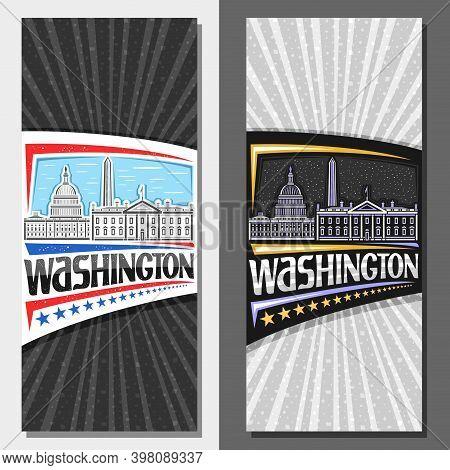 Vector Layouts For Washington, Decorative Leaflet With Outline Illustration Of Washington City Scape