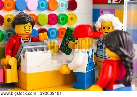 Tambov, Russian Federation - June 06, 2020 Boy And Grandma Buying Lego At The Lego Store.
