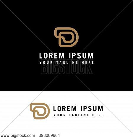 D Monogram. D Logo. Linear Gold Letters D On On A Black Background. The Minimalist Style.