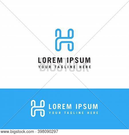 Letter H Logo Monogram, Mono Line Trendy Style Outline Initial Emblem, White Solid Line Shape, Typog