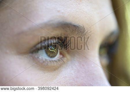 Closeup Eye Of Caucasian Brunette Woman. Portrait Of Young Woman. Caucasian Girl Face Background, Cl