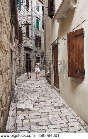 ROVINJ, CROATIA, 19 SEPTEMBER 2020: Architecture of old town and picturesque harbour of Rovinj, Istrian Peninsula, Croatia, Europe