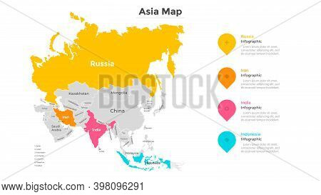 Map Of Asia. Territory Of Asian Continent Divided By Country Borders. Geographic Location Indication