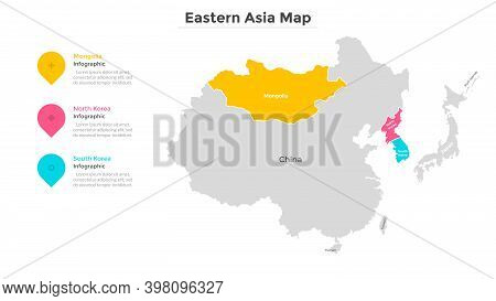 Map Of East Asia With Country Borders And State Indication. Eastern Part Of Asian Continent And Its