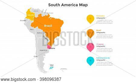 Map Of South America Divided By State Borders. American Continent With Indication Of Country Boundar