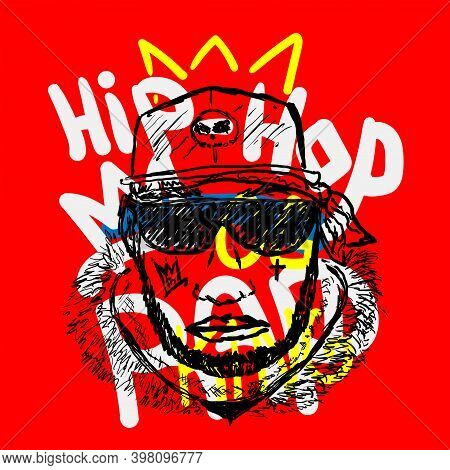 Sketch Of Rapper Head Against The Background With Crown And Text Rap, Hip Hop. Drawn By Hand. Stylis