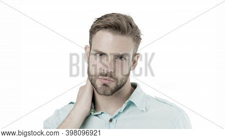 Man Grooming. Time For New Haircut. Handsome Man With Unshaven Face Grooming In Morning. Beauty Groo