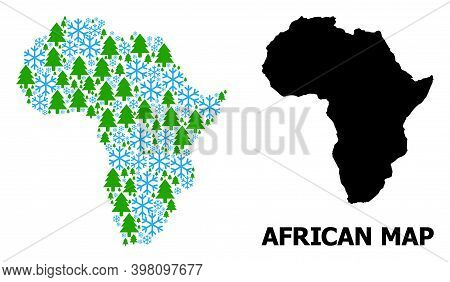 Vector Mosaic Map Of Africa Designed For New Year, Christmas, And Winter. Mosaic Map Of Africa Is De