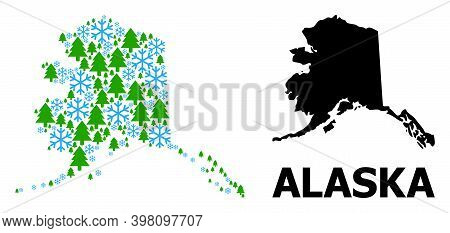 Vector Mosaic Map Of Alaska State Constructed For New Year, Christmas, And Winter. Mosaic Map Of Ala