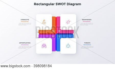 Swot Diagram With 4 Square Elements. Concept Of Advantages And Disadvantages Of Company. Modern Flat