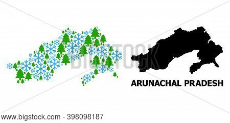 Vector Mosaic Map Of Arunachal Pradesh State Combined For New Year, Christmas, And Winter. Mosaic Ma