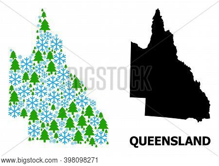 Vector Mosaic Map Of Australian Queensland Created For New Year, Christmas, And Winter. Mosaic Map O