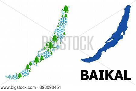 Vector Mosaic Map Of Baikal Created For New Year, Christmas, And Winter. Mosaic Map Of Baikal Is Cre