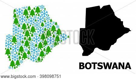 Vector Collage Map Of Botswana Constructed For New Year, Christmas, And Winter. Mosaic Map Of Botswa