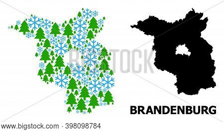 Vector Mosaic Map Of Brandenburg State Organized For New Year, Christmas, And Winter. Mosaic Map Of