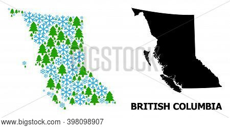 Vector Collage Map Of British Columbia Province Organized For New Year, Christmas, And Winter. Mosai